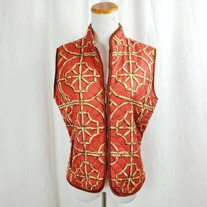 J Mclaughlin S Quilted Silk Vest Scarf Print Orang